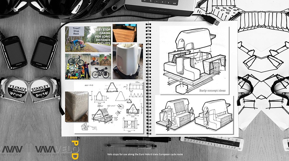 "Eruopean Velo Stops architecture competition honorable mention - ""Velopod"" (authors: Nick Butterfield, Tom Butterfield, Will Butterfield, Angela Butterfield)"